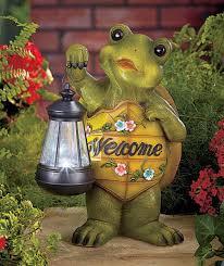 outdoor yard garden lawn turtle owl frog statue figure solar