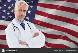 A American Flag Pictures Doctor Against American Flag U2014 Stock Photo Wavebreakmedia 143731327