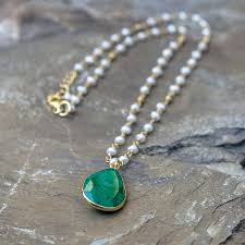 emerald gold necklace images Emerald and pearl pendant necklace by rochelle shepherd jewels jpg