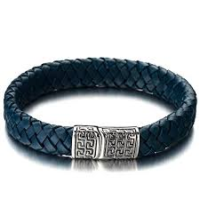 blue leather bracelet images Coolsteelandbeyond blue braided leather bangle jpg