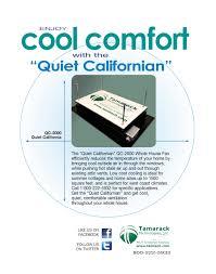 Whole House Ventilation Unit Quiet Californian 2000 Whole House Fan
