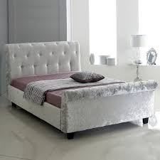 White Small Double Bed Frame by Free Delivery Hf4you Bucky Crushed Velvet Sleigh Bedstead