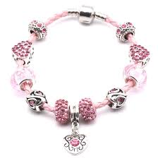 pandora beaded bracelet images Pink leather bracelet bangles with silver fittings fit women jpg