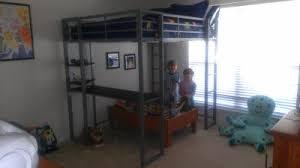 dorel dhp full metal loft bed over workstation desk multiple