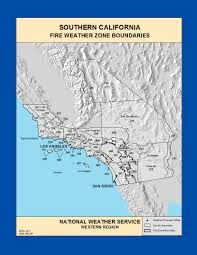 California Weather Map Maps Southern California Fire Weather Zone Boundaries