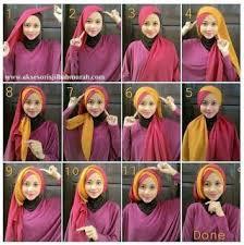 tutorial jilbab dua jilbab kreasi cara memakai hijab modern paris kombinasi dua warna terakhir