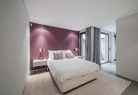 gray and purple wall color combined elegant white tone bed decor