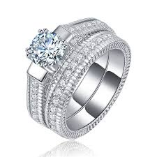 silver wedding ring sets shuangr classical silver color wedding ring sets for women bijoux