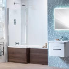 shower baths vermont l shaped shower bath vermont screen wooden front panel standard superspec 1500 1700mm