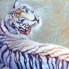 white tiger with blue posters by gill bustamante redbubble