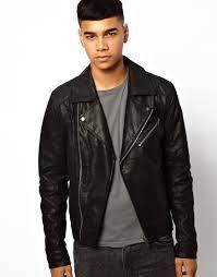 leather biker jacket solid solid leather biker jacket in black for men lyst