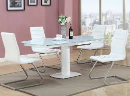 Chintaly Imports Sunny Dt Sunny 48 Quot Round Dining Table W Exeter Extendable Dining Table Modern White Lacquer And Stainless