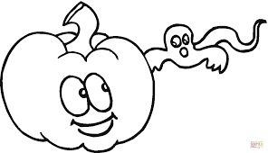 cute pumpkin and little ghost coloring page free printable
