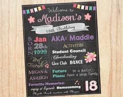birthday signing board 18th birthday poster etsy