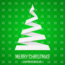 white paper christmas tree in origami style on green background