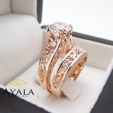 natural diamond rings images 18k rose gold natural diamond engagement ring set unique vintage jpg