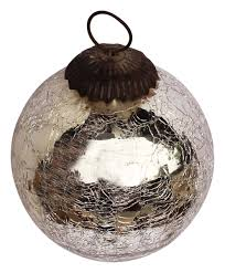 ornament blown tree decoration silver tone