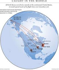 Where Is North America On The Map by Why Canada Would Be Directly In The Way Of A North Korean Nuclear