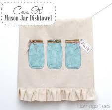kitchen towel designs can it mason jar dishtowel