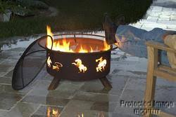 cowboy fire pit kokopelli native american design outdoor wood burning firepit