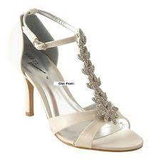 wedding shoes mid heel ivory satin wedding bridal prom t bar diamante mid heel