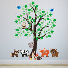 baby animal wall stickers uk wall murals you ll love forest tree with woodland animals wall sticker by mirrorin pastel jungle