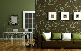 green color of wall paint interior decoration with cushion also
