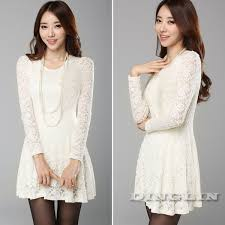 turmec long sleeved white lace skater dress
