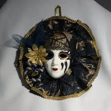 porcelain mardi gras masks vintage clay painted miniature porcelain mardi gras