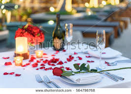 Dining Table Set Up Images Pool Side Candlelight Dinner Romantic Sunset Stock Photo 564796615
