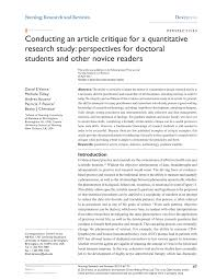 how to write an article critique paper conducting an article critique for a quantitative research study conducting an article critique for a quantitative research study perspectives for doctoral students and other novice readers pdf download available