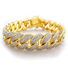 link bracelet with diamonds images 18k gold finish iced out lab diamond cuban link bracelet hip hop jpg