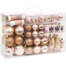 set of 72 handcrafted assorted christmas ornaments rose gold
