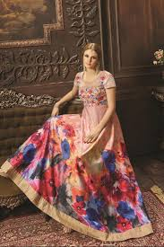 buy peach color digital print floor length silk fabric anarkali