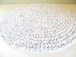 Cotton Bath Rugs Round Bath Rug Crochet Thick Plush White W Black Spec Cotton