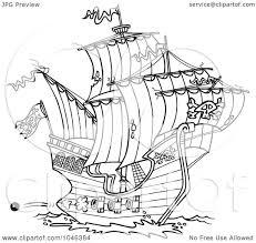 pirate ship cartoon black and white