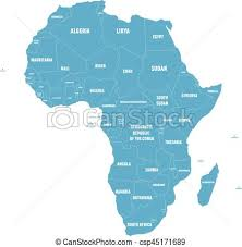 africa continent map simple flat blue map of africa continent with national vector