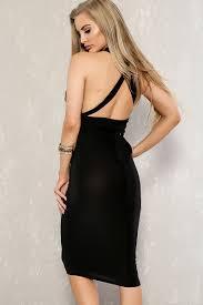 black versatile wear straps knee length bodycon party dress