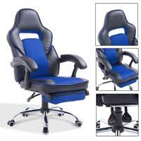 Reclining Office Chair With Footrest Gym Equipment Executive Office Chair Racing Style Bucket Seat Pu