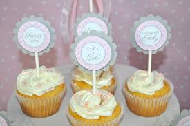 girls baby shower cupcake toppers pink and gray baby