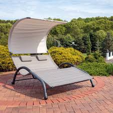 Chaise Lounge With Wheels Outdoor Sunnydaze Double Chaise Lounger With Canopy Shade And Removeable