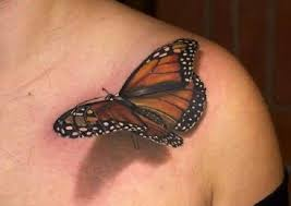 collarbone cover up with 3d big butterfly