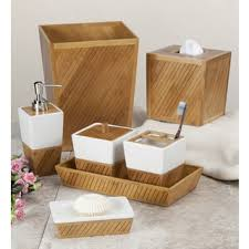 White Bathroom Accessories Ceramic by White Ceramic Bamboo Bathroom Accessory Set Bath Accessories And
