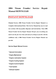 2006 nissan frontier service repair manual download