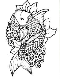 fish outline coloring page drawn koi fish outline pencil and in color drawn koi fish outline