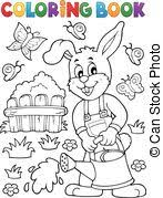 clipart vector coloring book garden gardener vector