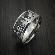 wolf wedding rings titanium ring with wolf and mountain pattern band custom