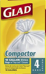 amazon com glad compactor kitchen trash bags 18 gallon 4