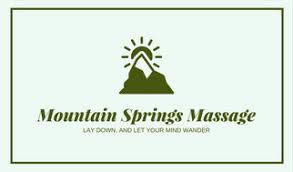 Massage Therapy Business Cards Green Minimalist Mountain Massage Therapist Business Card