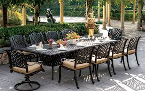 Cast Aluminum Patio Chairs Patio Furniture Dining Set Cast Aluminum 120 Rectangular Table